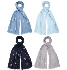 Wrap up and look fabulous this season with our assortment of silver glitter snowflake scarves.