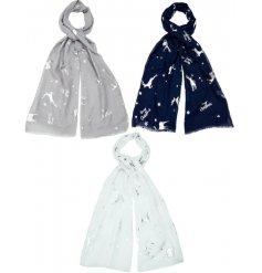 An assortment of 3 beautiful lightweight scarves, each with a silver foil reindeer design.