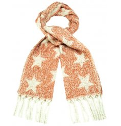 Snuggle up in style with this gorgeous warm and cosy scarf with tassels and a bold star design.