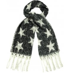 Cosy up with this warm and stylish black scarf with a star pattern and tassels.