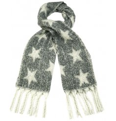 A chic and stylish scarf with a bold star design and tassels.