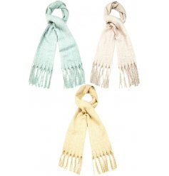 A mix of 3 super soft scarves in neutral pastel colours. Complete with tassels.