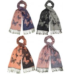 Get cosy with this mix of 4 large pashmina scarves, each with a double colour butterfly design.