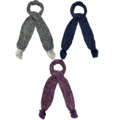 An assortment of 3 cosy and stylish scarves with faux fur pom poms.