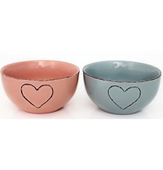 A charming assortment of pastel pink and blue toned breakfast bowls with an added embossed heart feature