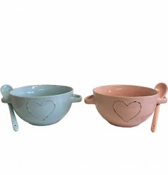 A mix of 2 shabby chic style bowls in pretty pastel colours. Each has twin handles and an embossed heart motif.