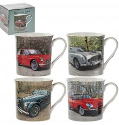 An assortment of 4 Fine China mugs, each decorated with its own Classical Car themed print