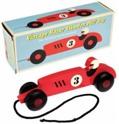 A vintage themed pull along racer car in a flashy red tone