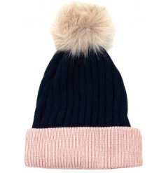 Snuggle up this season in this stylish two tone hat with faux fur pom pom.