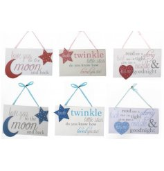 Baby phrase plaques in both pink and blue with 3 assorted phrases