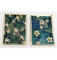 An assortment of 2 glass plates with a tropical design and gold detailing.
