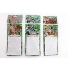 An assortment of 3 tropical memo pads with pencil. Each has a safari animal design. A chic stationery and gift item.
