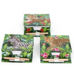 An assortment of 3 tropical memo pad and pencil sets with a safari animal. A colourful and on trend gift item.