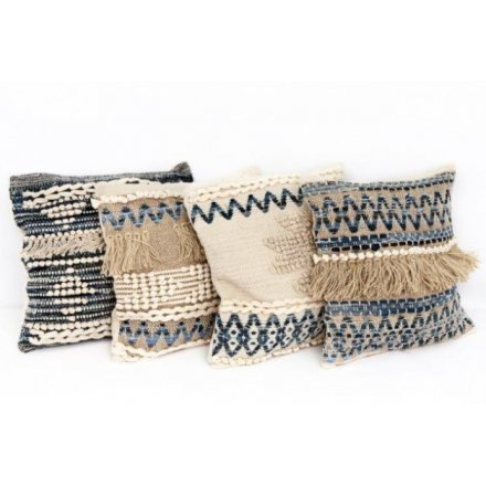 Blue and White Aztec Cushion, 4a