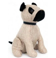 An adorable natural woven pug door stop with a ribbon collar. A chic gift item and interior accessory.