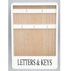 Stay organised with this shabby chic style wooden letter and key rack which can be hung on the wall.