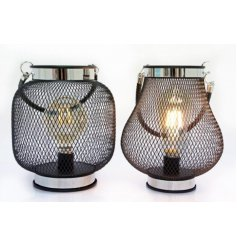 An assortment of 2 iron wire lanterns with LED lights.