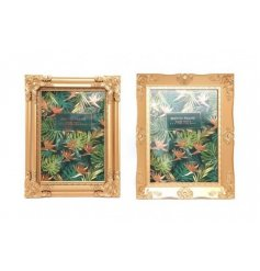 A mix of 2 ornate gold photo frames. 2 assorted designs making a chic interior accessory and gift.