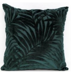 A stylish green cushion with a velvet palm print. This luxurious green cushion looks wonderful teamed with gold colours.