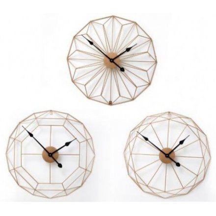 Gold wire clocks 60cm three assorted