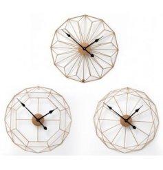 Gold wire clocks 60cm three assorted