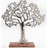 A stylish tree decoration with a tarnished silver finish, set upon a chunky wooden base.