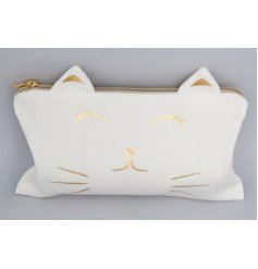 A charming cat themed cosmetics bag decorated with a golden zip and accents