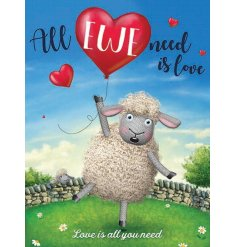 A sweet themed metal sign featuring a floating sheep and balloon.