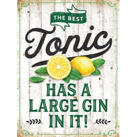 Large Gin and Tonic Metal Sign
