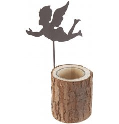 A rustic style candle holder. A beautiful bark base with glass inner, complete with a metal flying angel decoration.