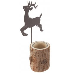 A charming woodland inspired candle holder with a prancing metal reindeer. A chic interior accessory.