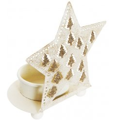 This cream metal t-light holder with star makes a unique and beautiful decorative accessory for the home this season.