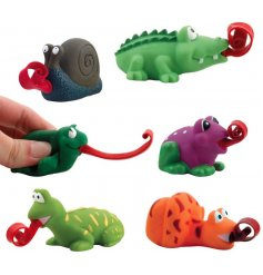 Give these cute squishy little creatures a squeeze and watch as their long tongues roll out!