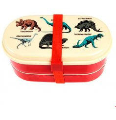 A fun and retro inspired plastic Tupperware box with a matching Fork and Spoon, perfect for little ones off to school a