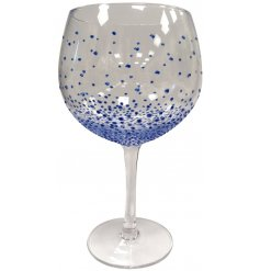 A long stemmed Gin Glass featuring a beautiful hand painted blue dotty detail