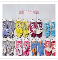 "A quirky and colourful themed greetings card with a HD printed photo and added ""One of a kind"" text"