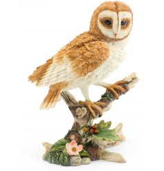 Large realistic resin barn owl figurine