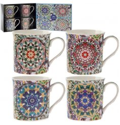 Bring a beautiful Mosaic inspired touch to any kitchen space with this charming set of Fine China Mugs