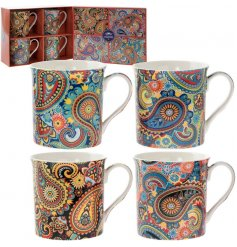 A psychedelic inspired set of Fine China Mugs complete with a matching gift box