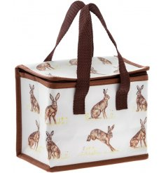 A Country Living inspired fabric lunch bag covered with illustrated hares