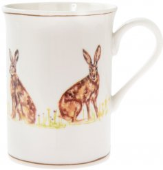 Fine China Mug - Hares   Decorated with illustrated hares and set with brown trimming finish,