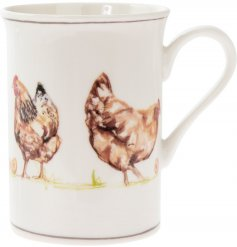 Fine China Mug - Chickens Decorated with illustrated chickens and set with brown trimming finish,