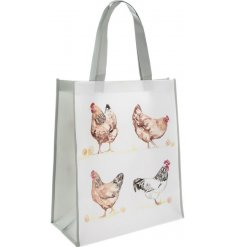 Bring a classical Country Charm to your shopping sprees with this chicken printed fabric bag