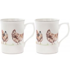 Fine China Mugs - Decorated with illustrated chickens and set with brown trimming finish,