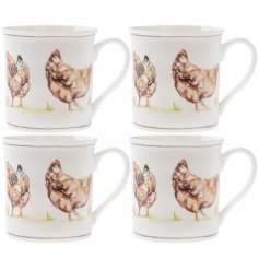 Bring a classical Country Charm to any kitchen interior with this set of four china mugs