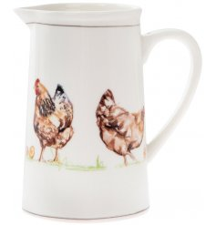 Fine China Jug - Chickens Decorated with illustrated chickens and set with brown trimming finish