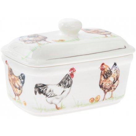Chicken Printed Butter Dish