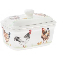Decorated with printed chicken decals, this lidded butter dish will be sure to bring a Country Charm to any kitchen inte