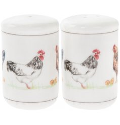 A set of 2 salt and pepper with a charming country chicken design.