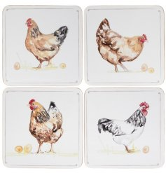 A set of 4 country chicken design coasters.